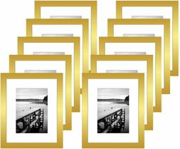 Americanflat 10 Pack - 8x10 Gold Picture Frames - Display Pi
