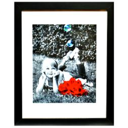 11x14 Inch Picture Frame - GLASS FRONT - Displays 8x10 w/ Ma