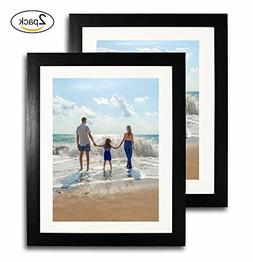 2-Pack, 11x14 Black Picture Frames - Made to Display Picture