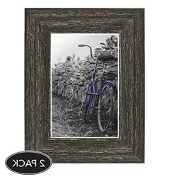 2-Pack, 4x6 inch Barnwood Rustic Picture Frame with Easel, M