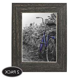 2-Pack, 5x7 inch Barnwood Rustic Picture Frame with Easel, M