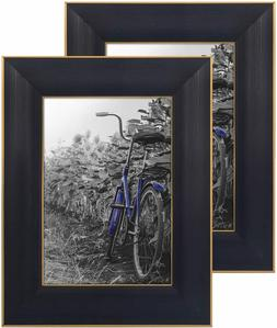 Americanflat 2 Pack Black Picture Frames with Easels | Displ