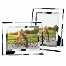 2 Pack Mirror Picture Frames 4x6 Glass Picture Frame For Hom