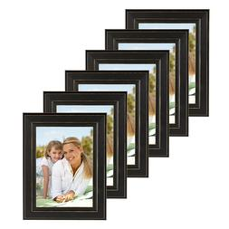 DesignOvation Kieva Solid Wood Picture Frame, Distressed Bla