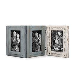 Adeco 3 Openings Tri-Colored Distresssed Wood Decorative Hin