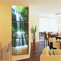3Pcs HD Waterfall Framed Canvas Picture Print Paintings Home