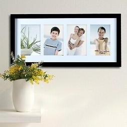 """Adeco 4-photo Black Wood 4""""x6"""" Matted Picture Frame"""