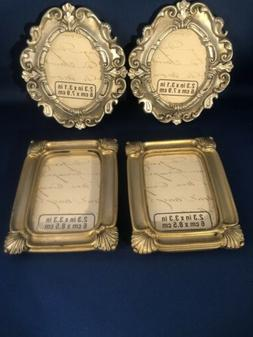 """4 Small Picture Frames 2- Gold Rectangle 2.3"""" X 3.3""""  2- Sil"""
