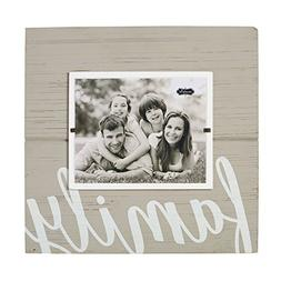 """Mud Pie 4695381 Distressed Gray Painted Wood Family Frame 8"""""""