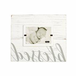 """Mud Pie 4695383 Painted Wood Blessed Photo Frame, 4"""" x 6"""", W"""
