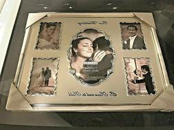 5-Opening 2-tone Collage Picture Frame OUR WEDDING - Silver