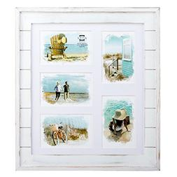 """Prinz 5 Opening Seaside Wood Plank Collage Frame, 4 x 6"""", Wh"""