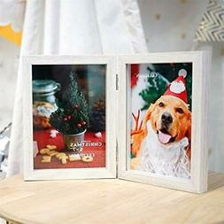 CECIINION 5x7 MDF Wood Photo Frame Shadow Box, Hinged Double
