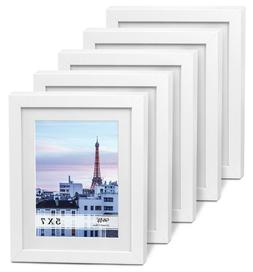 "Cavepop 5x7"" White Wood Textured Picture Frames - Set of 5"
