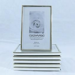 #6 Chrome / Silver Tone 4x6 in. Picture Frames - New, Velour