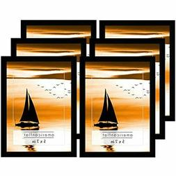 6 Pack Black Picture Frames Displays 5x7 Inch Pictures. Poli