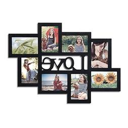 Asense 8 Openings Decorative Wood Wall Hanging Collage Pictu
