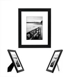 8x10 Black Picture Frame - Made to Display Pictures 5x7 with