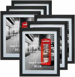 8x10 Black Picture Frames with Mat for Wall or Table Top Dec