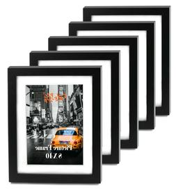 "Cavepop 8x10"" Black Wood Textured Picture Frames - Set of"