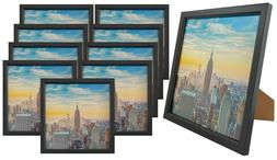 Frame Amo 8x8 Black Wood Picture Frame, Glass Front, Wall or