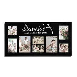 Adeco 8 OpeningsBlack Wood Wall Hanging Collage Puzzle Pictu