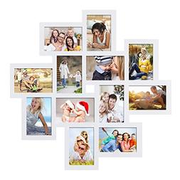 Adeco PF0205 PF0205 White Wood 12 Openings Wall Collage Pict