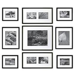 Gallery Perfect 9 Piece Black Wood Photo Frame Wall Gallery
