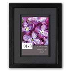 Gallery Solutions 8x10 Black Wood Frame with Double Black Ma