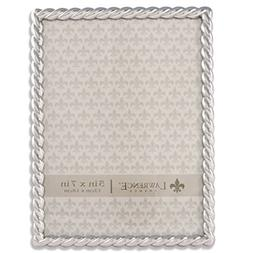 Lawrence Frames 710057 Silver Metal Rope Picture Frame, 5 by