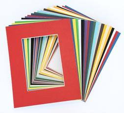 Pack of 20 MIXED COLORS 16x20 Picture Mats Matting with Whit