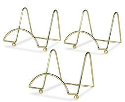 Wire Easel Display Stand Plate Holders - Smooth Brass Metal