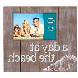 Prinz A Day at The Beach Natural Solid Wood Frame, 4 by 6-In