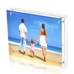 Niubee Acrylic Picture Frame 5x7, 20% Thicker Block Clear Do