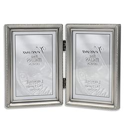 Lawrence Frames Antique  Pewter Hinged Double 3.5x5 Picture