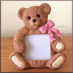 """Bear Hugs with Pink Bow Photo Frame by Prinz Holds 3"""" x 3"""" F"""