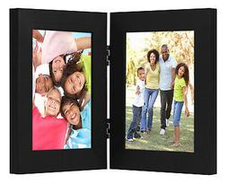 "4"" x 6"" Black Hinged Picture Frame Glass Front Elegantly Dis"