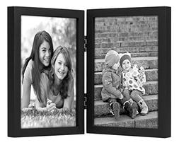 5x7 Inch Black Hinged Picture Frame with Glass Front, Stands