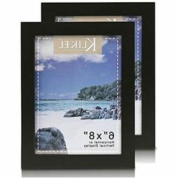 Black Picture Frame Set Of 2 6x8 Wooden Photo Made FREE SHIP