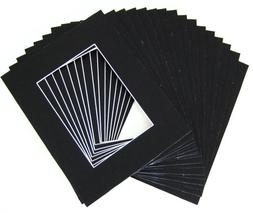 Pack of 25 11x14 BLACK Picture Mats Mattes with White Core B
