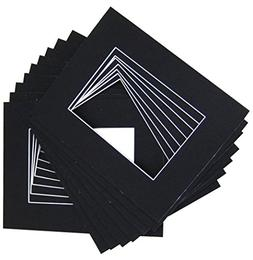 Pack of 20 12x16 BLACK Picture Mats with White Core Bevel Cu