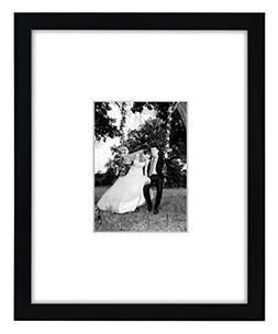 11x14 Black Wall Picture Frame - Matted to Fit Pictures 5x7