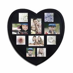 Black Wood Heart-Shaped Wall Hanging Picture Photo Frame, 10
