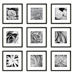 GALLERY PERFECT 9 Piece Black Wood Square Photo Frame Wall G