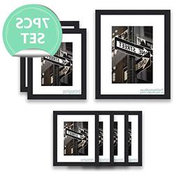 The Display Guys~ 7 Piece Black Wooden Photo Frame Set, One
