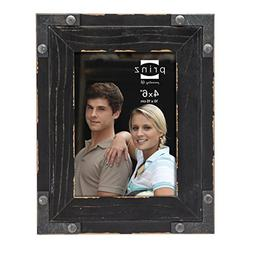 Prinz Brody Distressed Wood Frame with Faux Metal Corners, 4