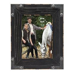 Prinz Brody Distressed Wood Frame with Faux Metal Corners, 8