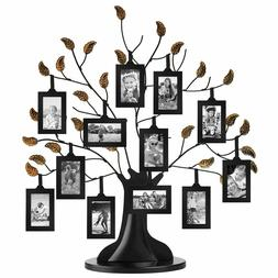 Americanflat Bronze Family Tree Frame with 12 Hanging Pictur