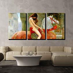 wall26 - 3 Piece Canvas Wall Art - Lady Godiva by John Colli