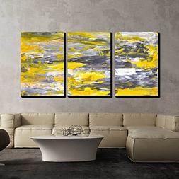 wall26 - 3 Piece Canvas Wall Art - Grey and Yellow Abstract